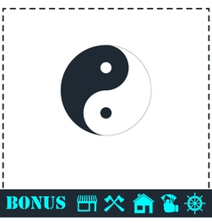 Yin Yang icon flat vector