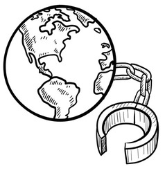 doodle ball chain earth vector image vector image