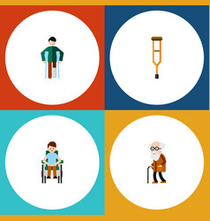 flat icon cripple set of injured stand disabled vector image vector image