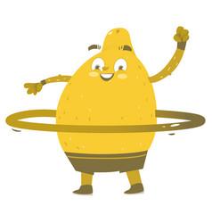 Funny smiling lemon character with hula hoop vector