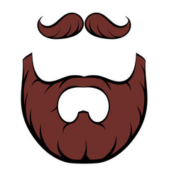 mustache and beard icon cartoon vector image vector image