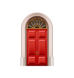 Old red door isolated on white vector image vector image
