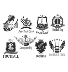 rugby football badges for championship cup vector image