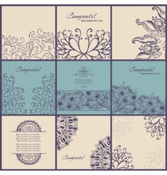 Set of vintage Congrats cards with lace ornament vector image