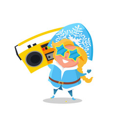 snow maiden with record player vector image