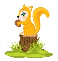 Squirrel sits on hemp vector image
