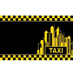business card with taxi and night city vector image vector image