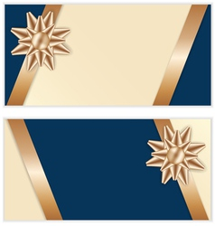 Festive Golden Bow Blue Banners vector image vector image