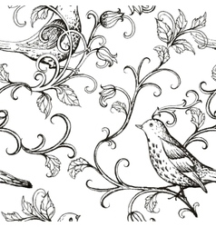 hand drawn with birds texture pattern vector image vector image