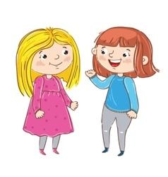 Happy young girl cartoon characters vector image