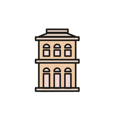 isolated pink color low-rise municipal house in vector image vector image