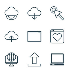 set of 9 internet icons includes program data vector image