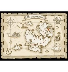 Treasure pirate hand drawn map vector