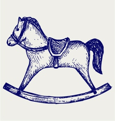 Wooden rocking horse vector image vector image