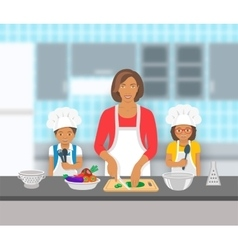 Mother and kids cooking together at kitchen flat vector image vector image