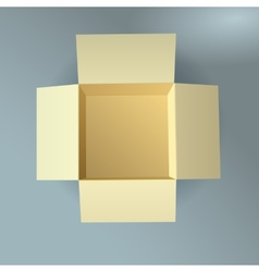Open cardboard box corrugated top view with soft vector image