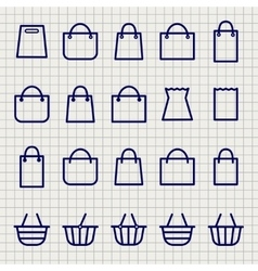 Shopping bags sketch icons set vector image