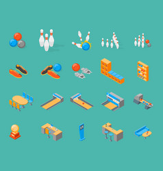 bowling game icons set isometric view vector image vector image