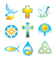 collection religious symbols vector image