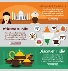 india travel banner horizontal set flat style vector image vector image