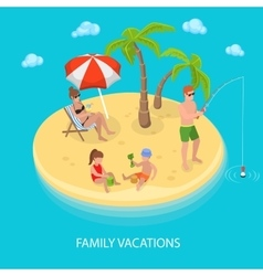 Isometric Tropical Island Beach Family Relaxing vector image