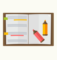opened notebook with two markers graphic design on vector image