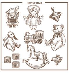 Retro toys sketch collection hand drawn vector