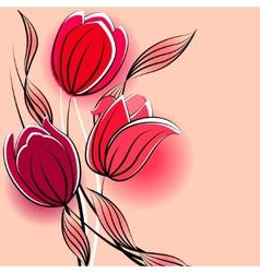 stylized tulips vector image vector image