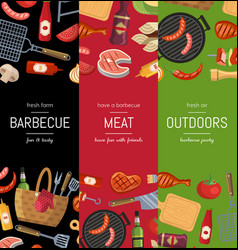vertical banner templates for barbecue or vector image vector image