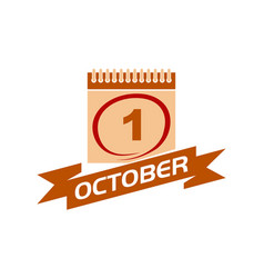 1 october calendar with ribbon vector