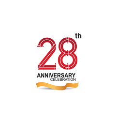 28 anniversary celebration logotype with red vector