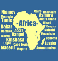 Africa map yellow on white background vector