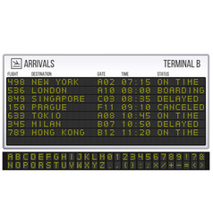 airport scoreboard digital led board font vector image