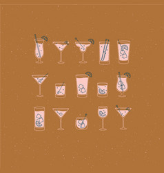Alcohol drinks and cocktails icon flat set mustard vector