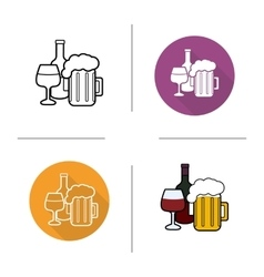 Alcohol drinks flat design linear and color icons vector