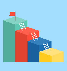 Bar chart and ladder with red flag for use as vector