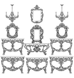 baroque furniture set with luxurious ornaments vector image