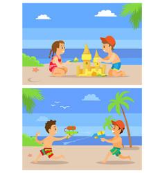 Beach in summer children playing seaside set vector