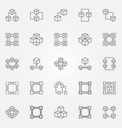 blockchain icons set - block chain concept vector image