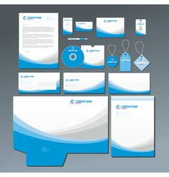 Blue stationery set vector