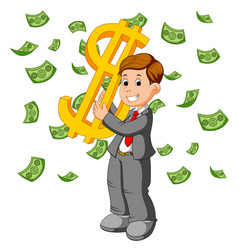 Businessman happy under falling raining money show vector