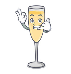 Call me champagne mascot cartoon style vector