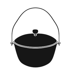 Camping pot icon in black style isolated on white vector