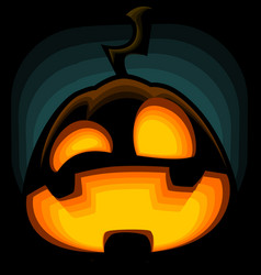 Cartoon halloween pumpkin silhouette mad laugh vector