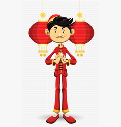 Chinese boy new year vector