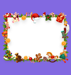 Christmas greeting card blank frame decorations vector