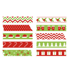 christmas washi tapes set template vector image