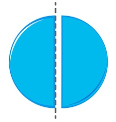 Circle cut in half vector