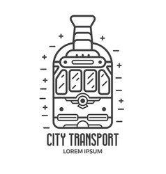 city retro tram logo in outline design vector image