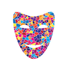 comedy theatrical masks stained glass vector image